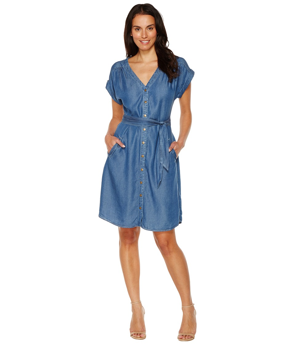 Sangria - Short Sleeve Denim Shirtdress (Indigo) Women's Dress