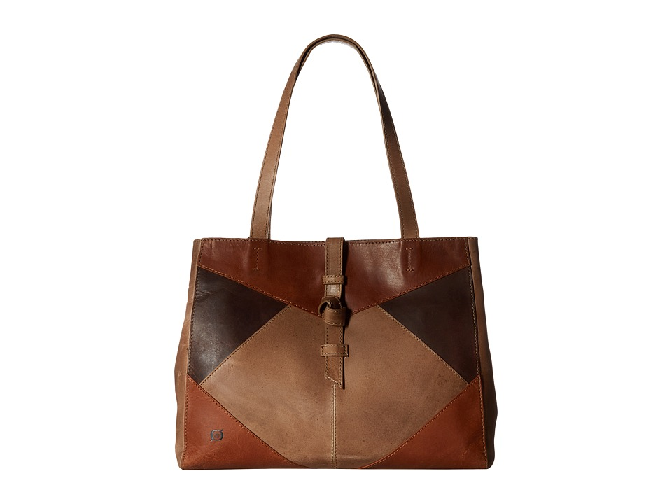 Born - Distressed Leather Tote (Khaki/Multi) Tote Handbags