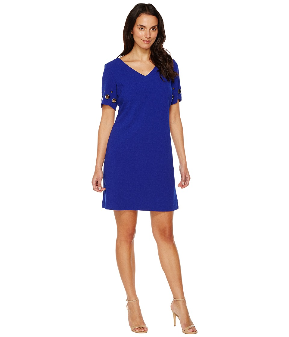 Sangria - Short Sleeve V-Neck Shift (Cobalt) Women's Dress