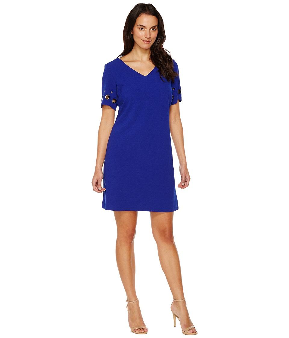 Sangria Short Sleeve V-Neck Shift (Cobalt) Women