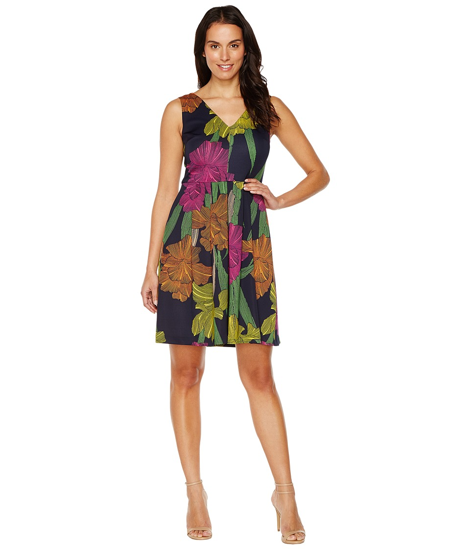 Sangria Sleeveless Floral Fit Flare (Navy/Multi) Women