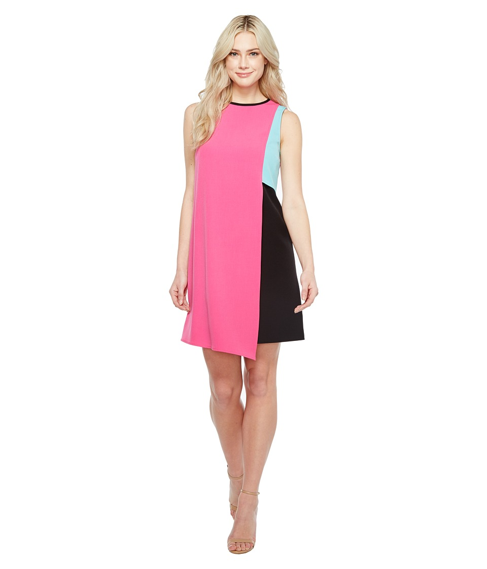 Tahari by ASL - Swing Color Block Dress (Fuchsia/Blue/Black) Women's Dress