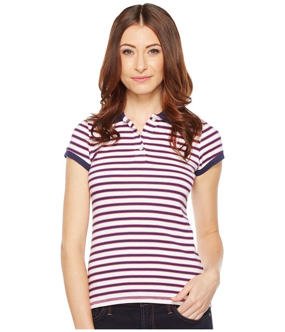 U.S. POLO ASSN. - Chest Stripe Polo Shirt w/ Logo Patch (Tribal Navy) Women's Short Sleeve Pullover