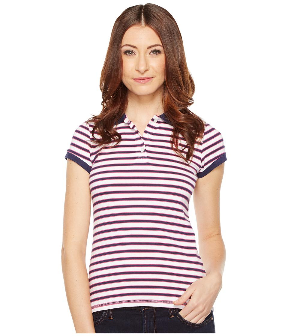 U.S. POLO ASSN. - Chest Stripe Polo Shirt w/ Logo Patch (Tribal Navy) Women's Short Sleeve Pullover