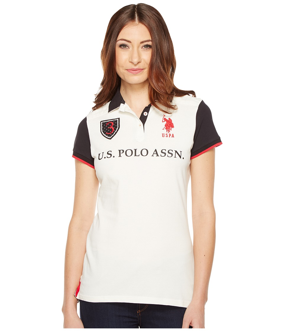 U.S. POLO ASSN. - Embellished Polo Shirt (Marshmallow) Women's Short Sleeve Pullover
