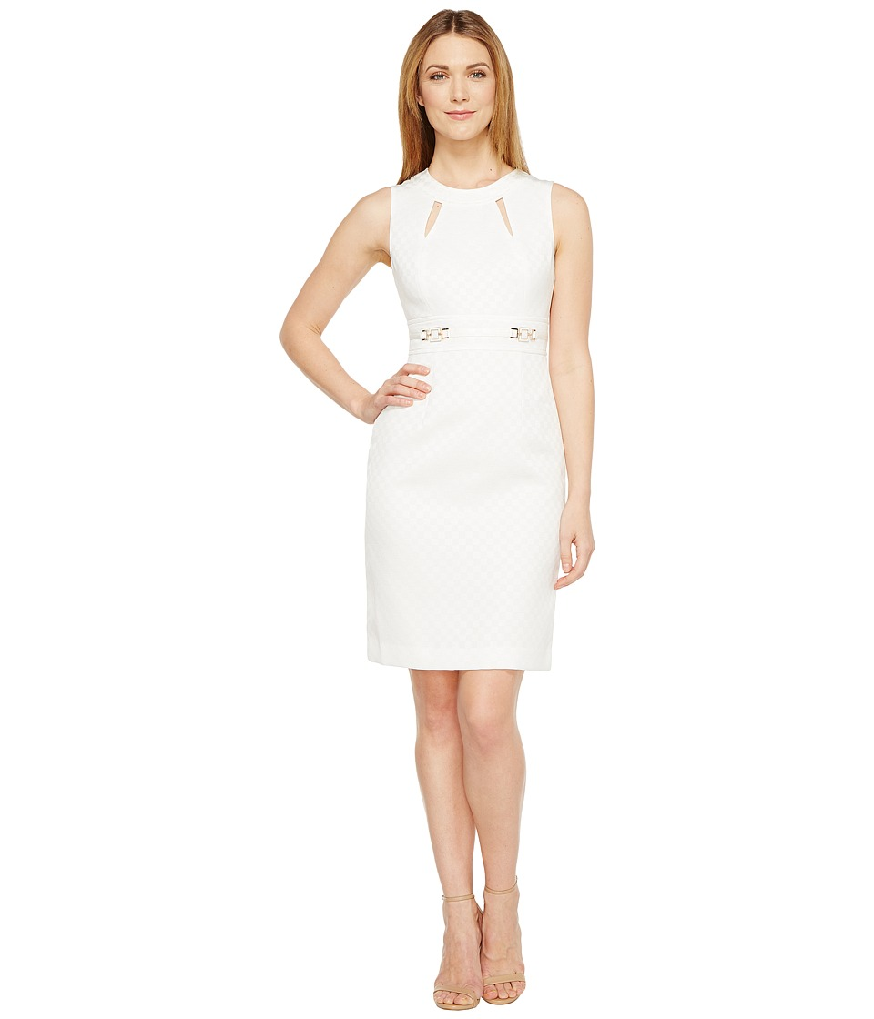 Tahari by ASL - Notch Neck Jacquard Sheath (Natural White) Women's Dress