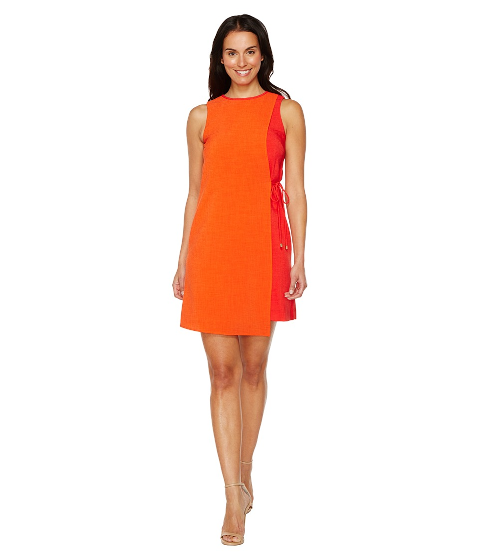 Tahari by ASL - Textured Crepe Swing Dress (Orange/Poppy) Women's Dress