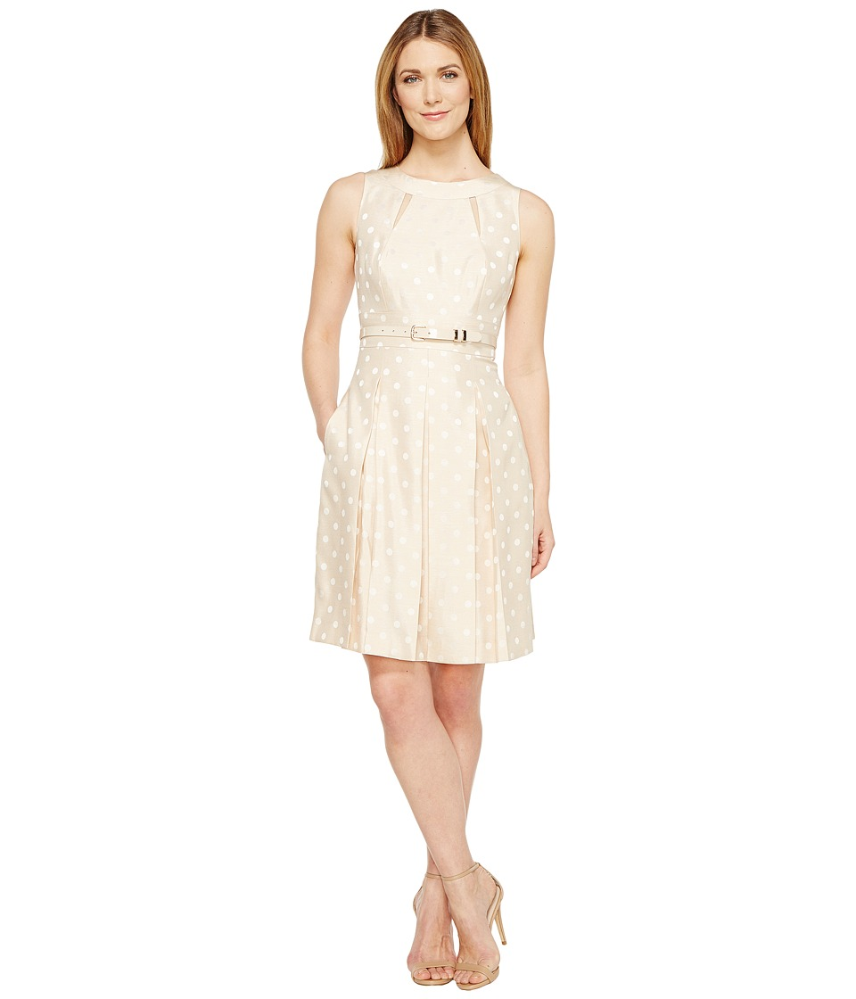 Tahari by ASL Dotted Fit Flare (Champagne) Women