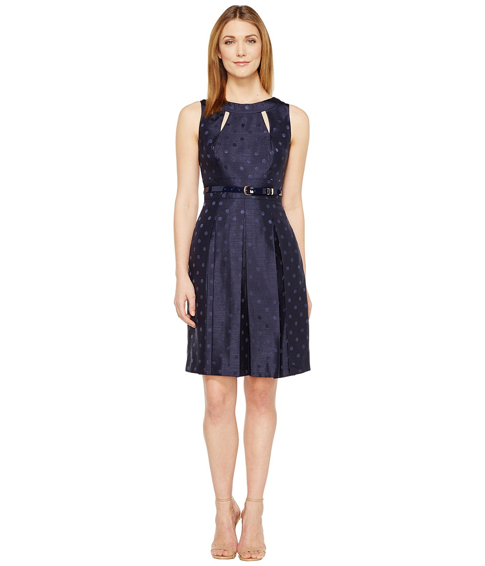 Tahari by ASL Dotted Fit Flare (Navy) Women
