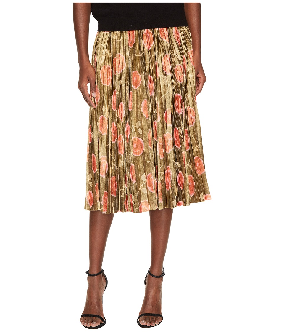 Kate Spade New York Hazy Rose Pleated Lame Skirt (Black Multi) Women