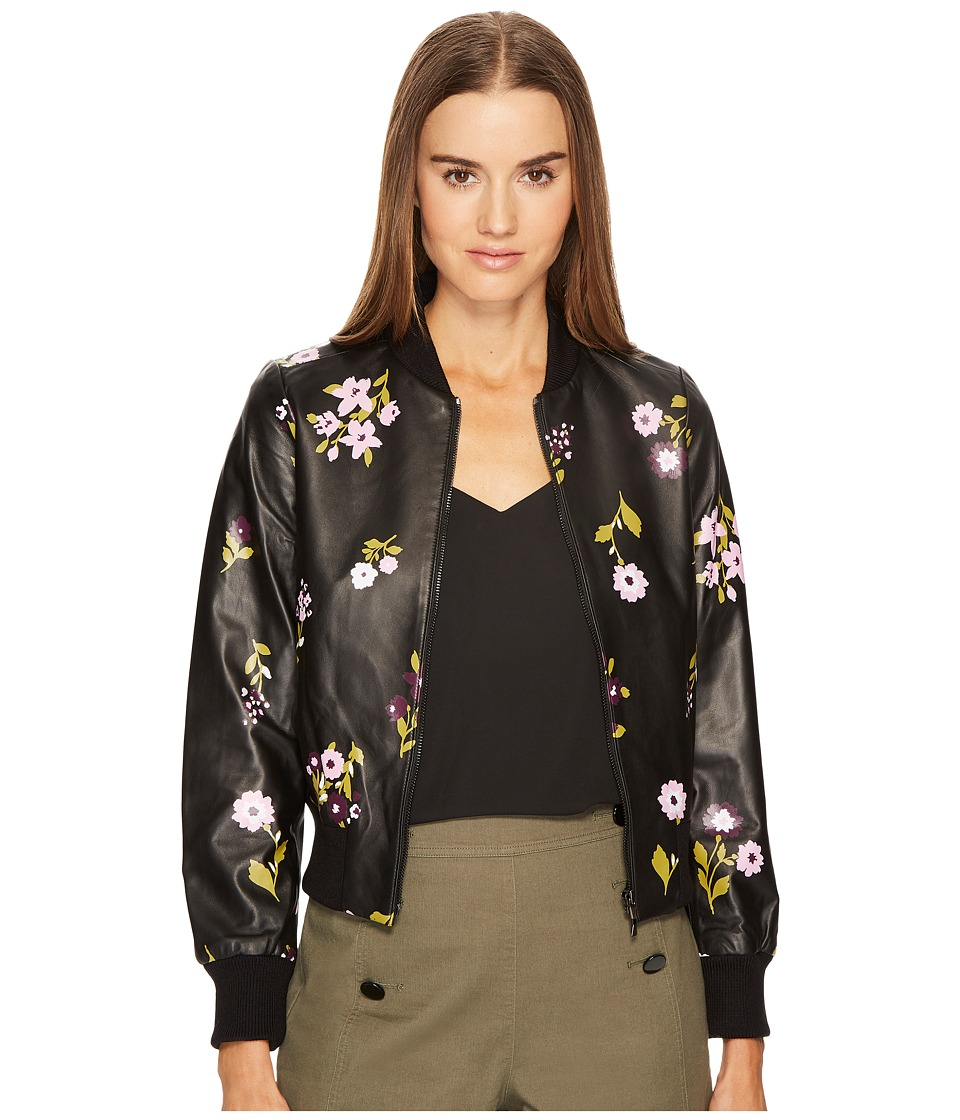 Kate Spade New York - In Bloom Leather Bomber Jacket (Black Multi) Women's Coat