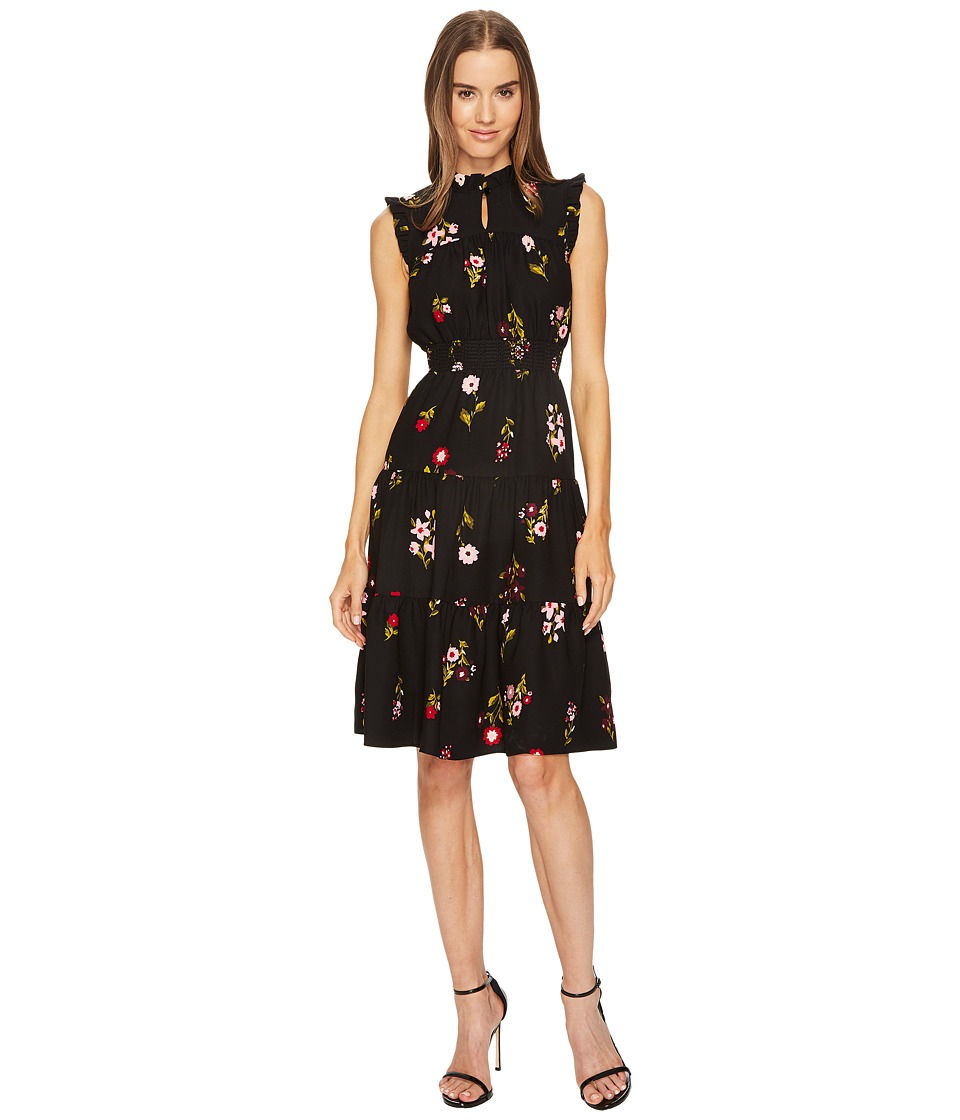 Kate Spade New York - In Bloom Smocked Waist Dress (Black Multi) Women's Dress