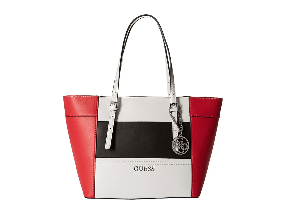 GUESS - Delaney Small Classic Tote (Red Multi) Tote Handbags