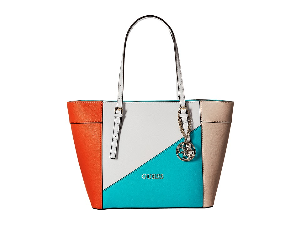 GUESS - Delaney Small Classic Tote (Turquoise Multi) Tote Handbags