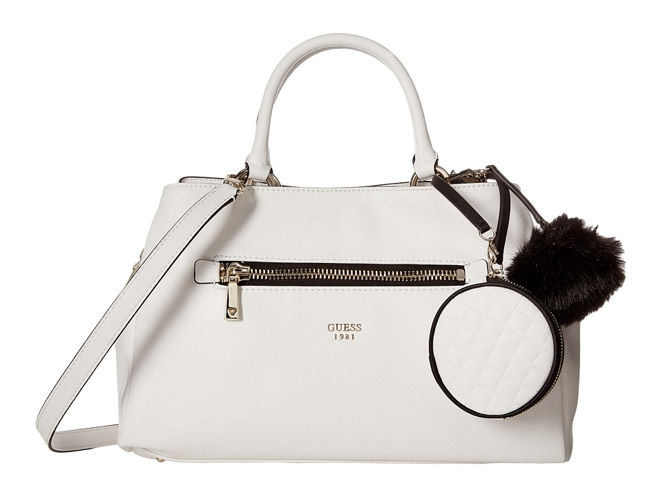 GUESS - Tenley Girlfriend Satchel (White) Satchel Handbags