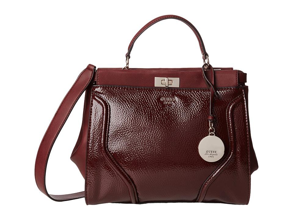 GUESS - Georgie Satchel (Bordeaux) Satchel Handbags