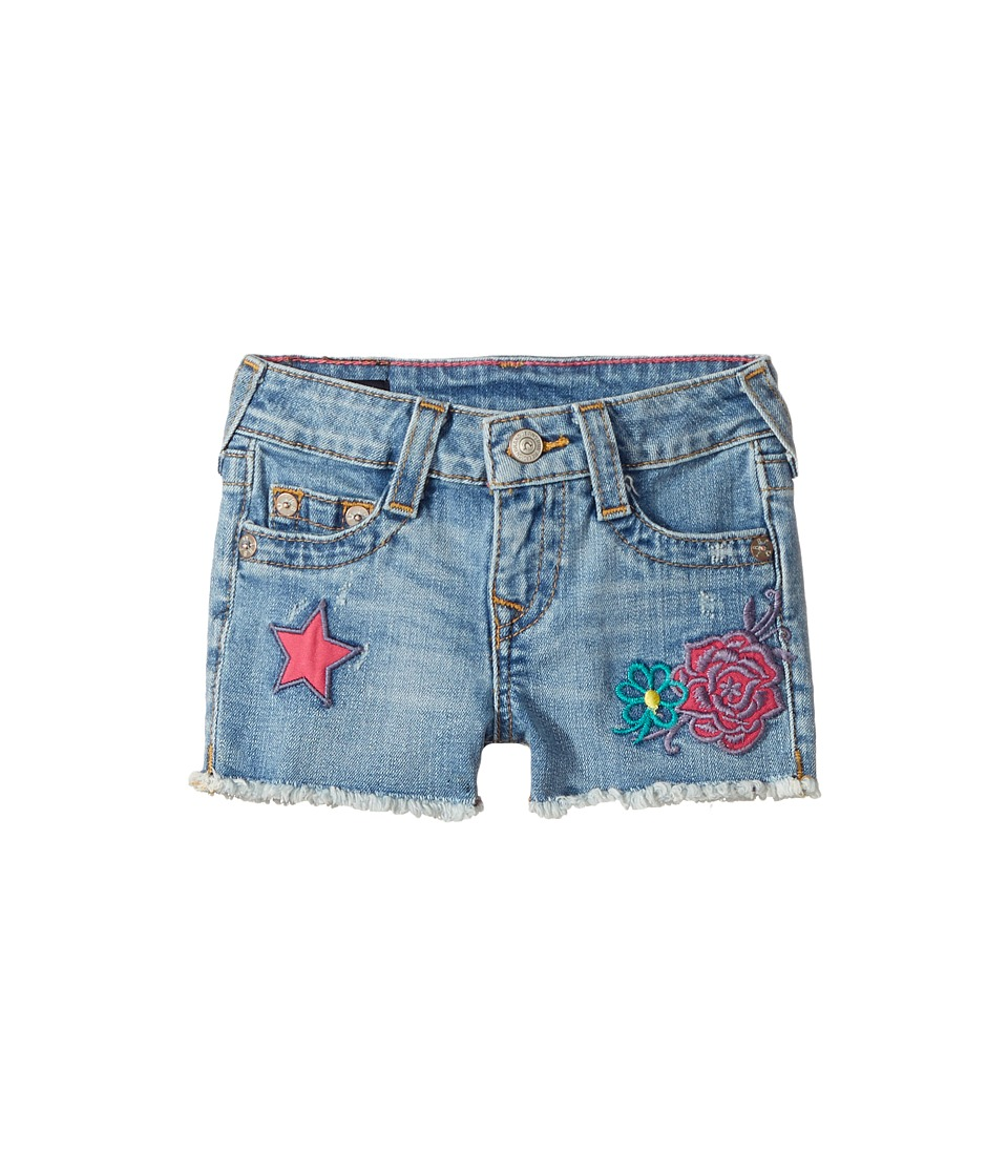 True Religion Kids - Bobby Patched Raw Edge Shorts in Sail Away (Toddler/Little Kids) (Sail Away) Girl's Shorts