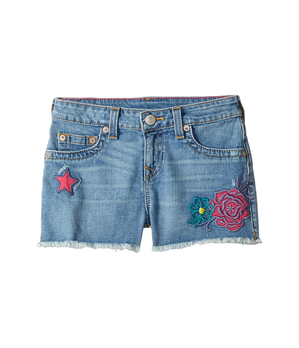 True Religion Kids - Bobby Patched Raw Edge Shorts in Sail Away (Big Kids) (Sail Away) Girl's Shorts