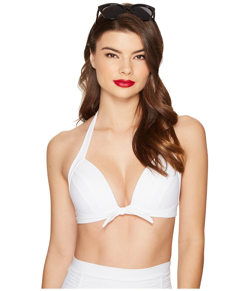 Unique Vintage - Monroe Triangle Bikini Top (White) Women's Swimwear