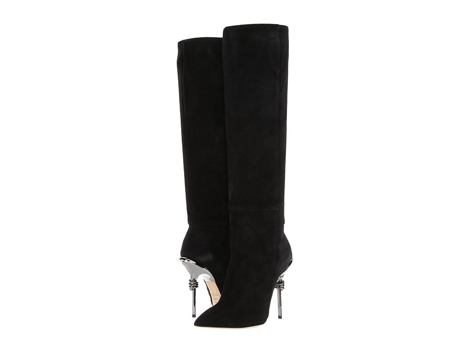 Racine Carree Suede 105mm Knee High Boot w/ Metal Heel (Black/Black/Black) Women