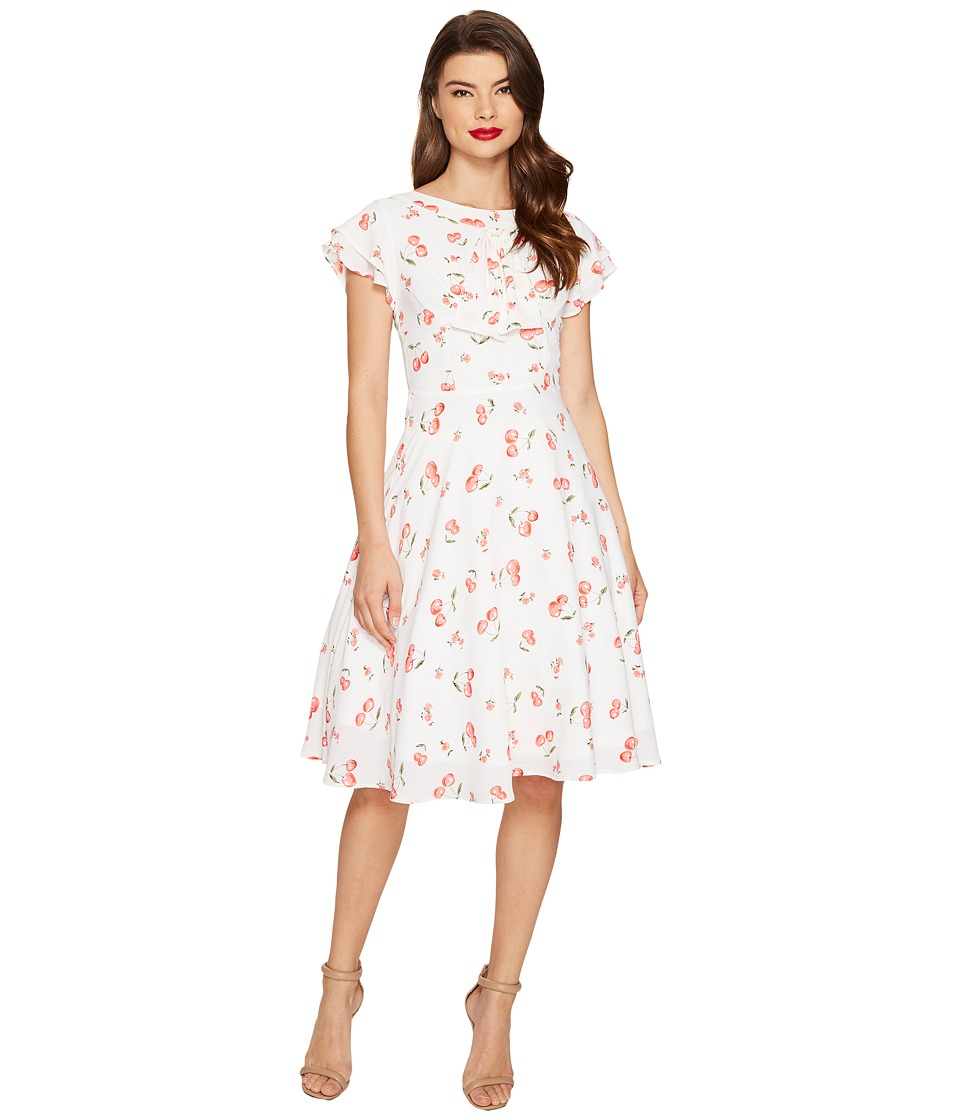 Unique Vintage Cherry Print Cap Sleeve Dixon Day Dress (White/Red) Women