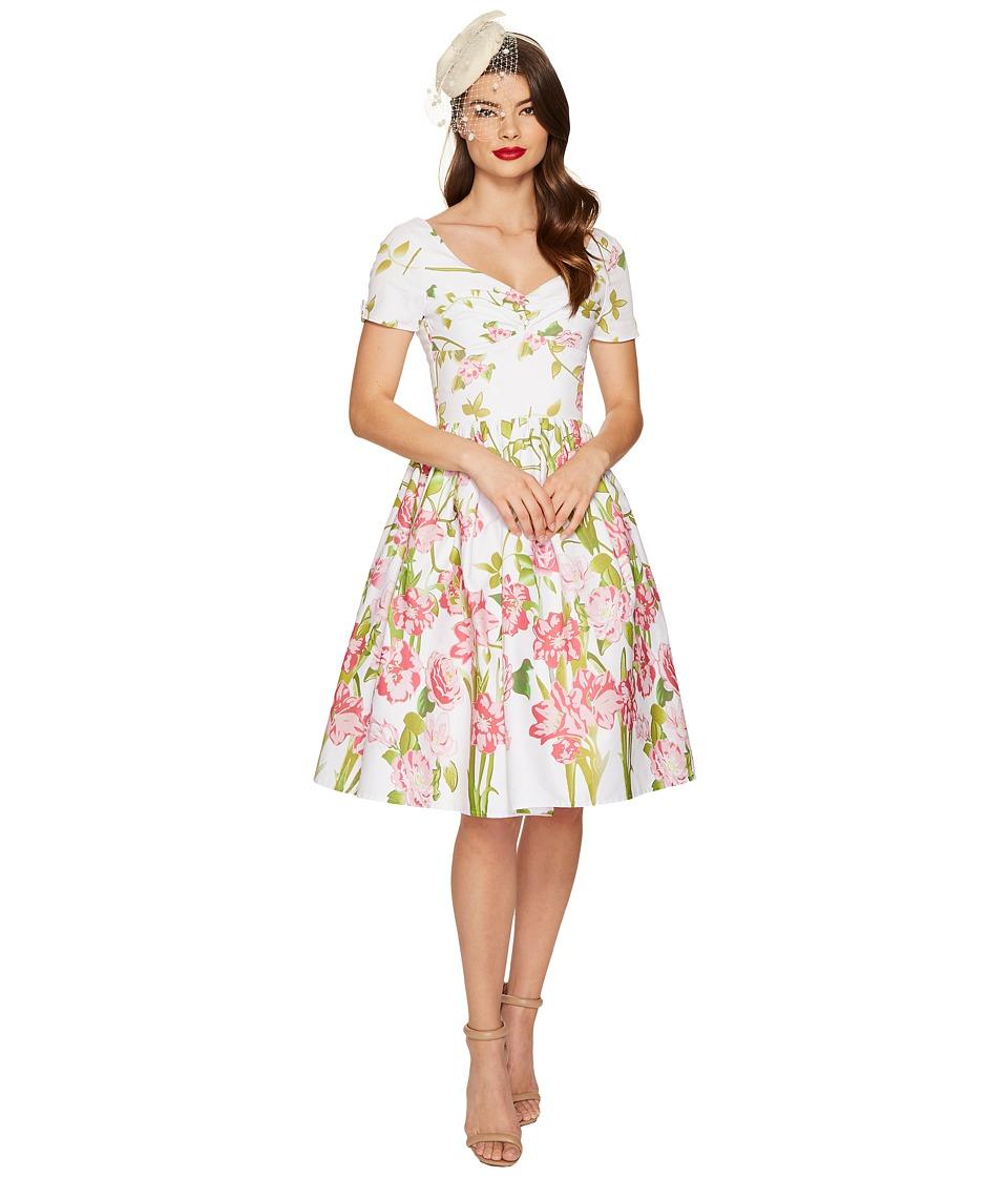 Unique Vintage - Short Sleeve Whitman Swing Dress (White Floral) Women's Dress