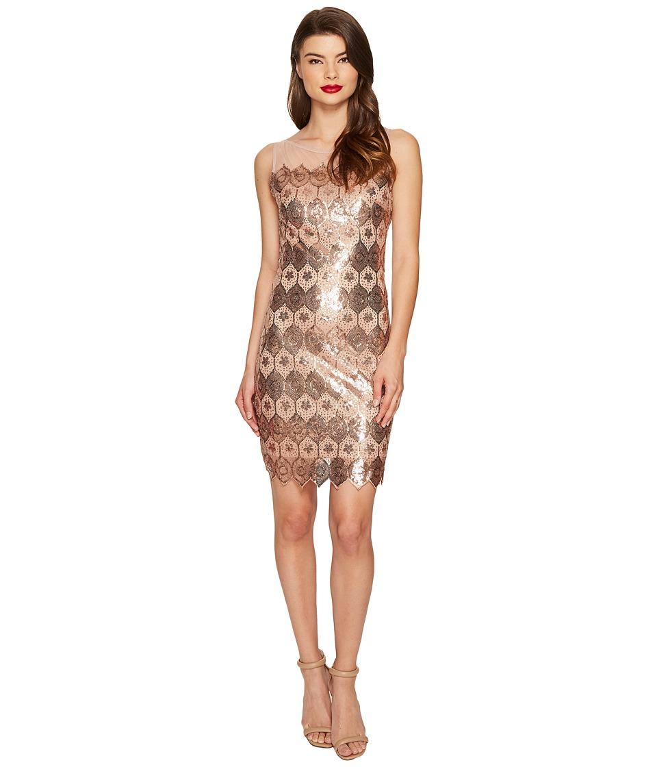 Unique Vintage - Sequin Geometric Deco Sheer Clifton Flapper Dress (Bronze) Women's Dress