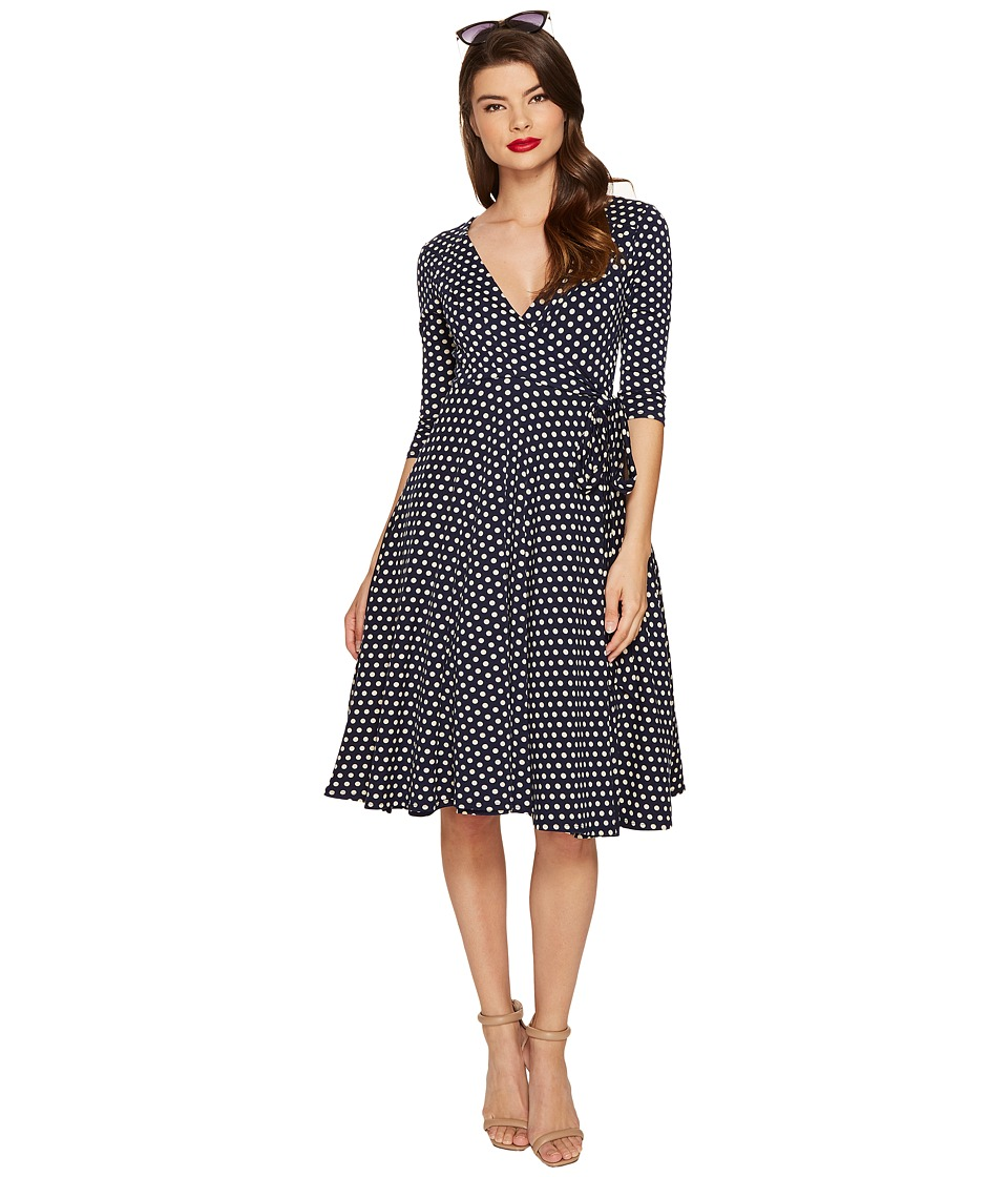 Unique Vintage 3/4 Sleeve Kelsie Wrap Dress (Navy Dot) Women