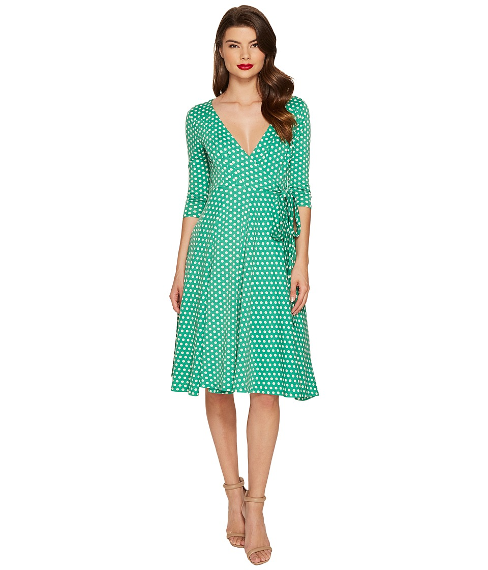 Unique Vintage 3/4 Sleeve Kelsie Wrap Dress (Green Dot) Women