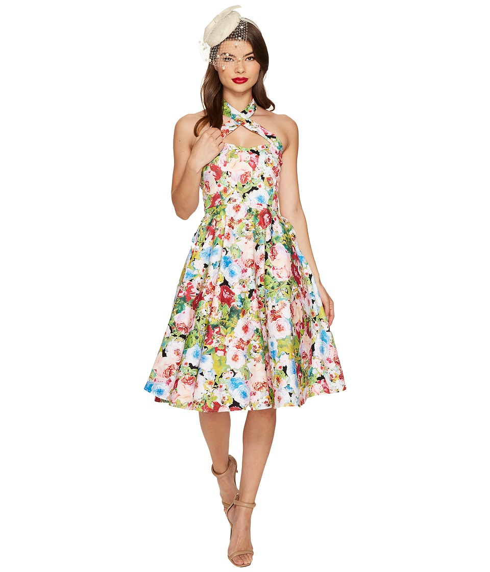 Unique Vintage - Roses Rita Swing Dress (Pink Watercolor) Women's Dress