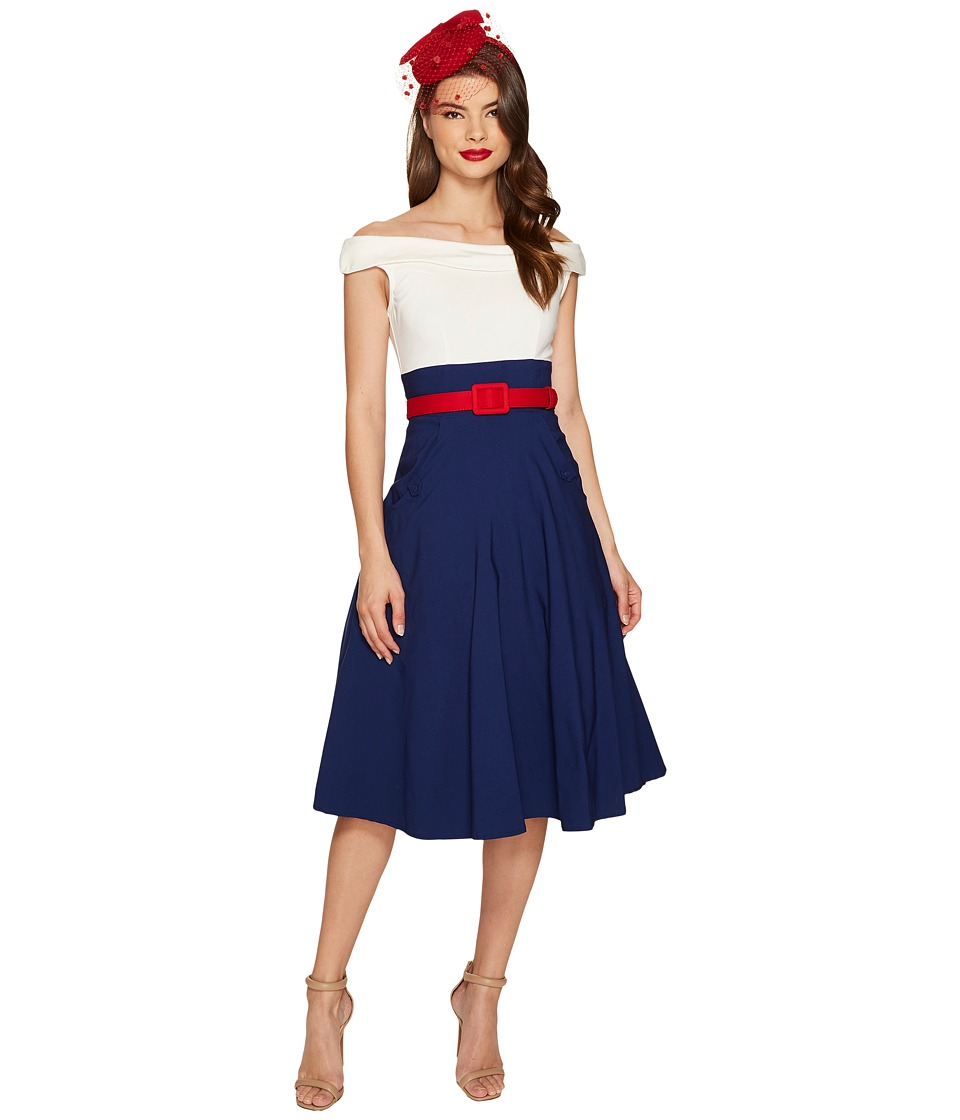 Unique Vintage Tippi Swing Dress (Navy/White) Women