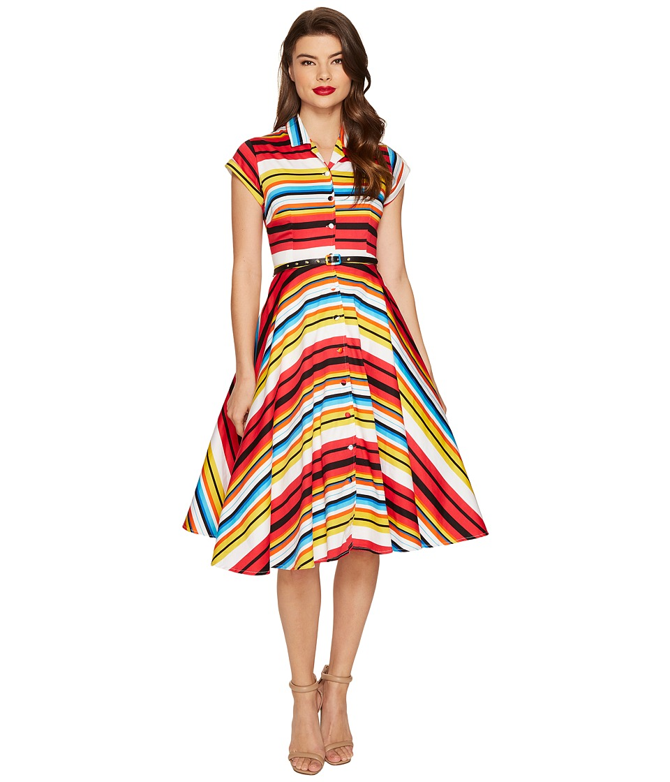 Unique Vintage - Striped Shirtdress (Multi) Women's Dress