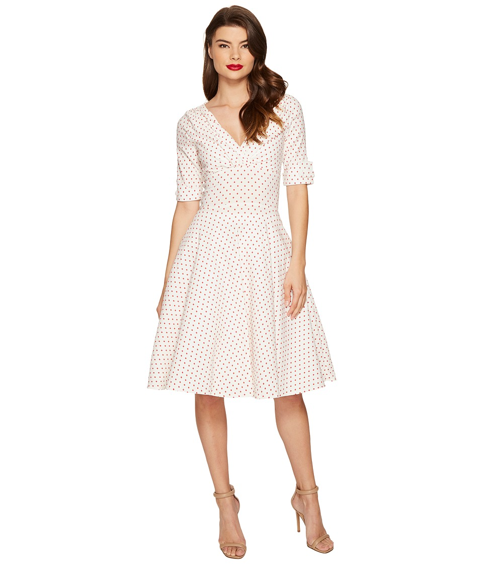 Unique Vintage Delores Swing Dress (White/Red Dot) Women