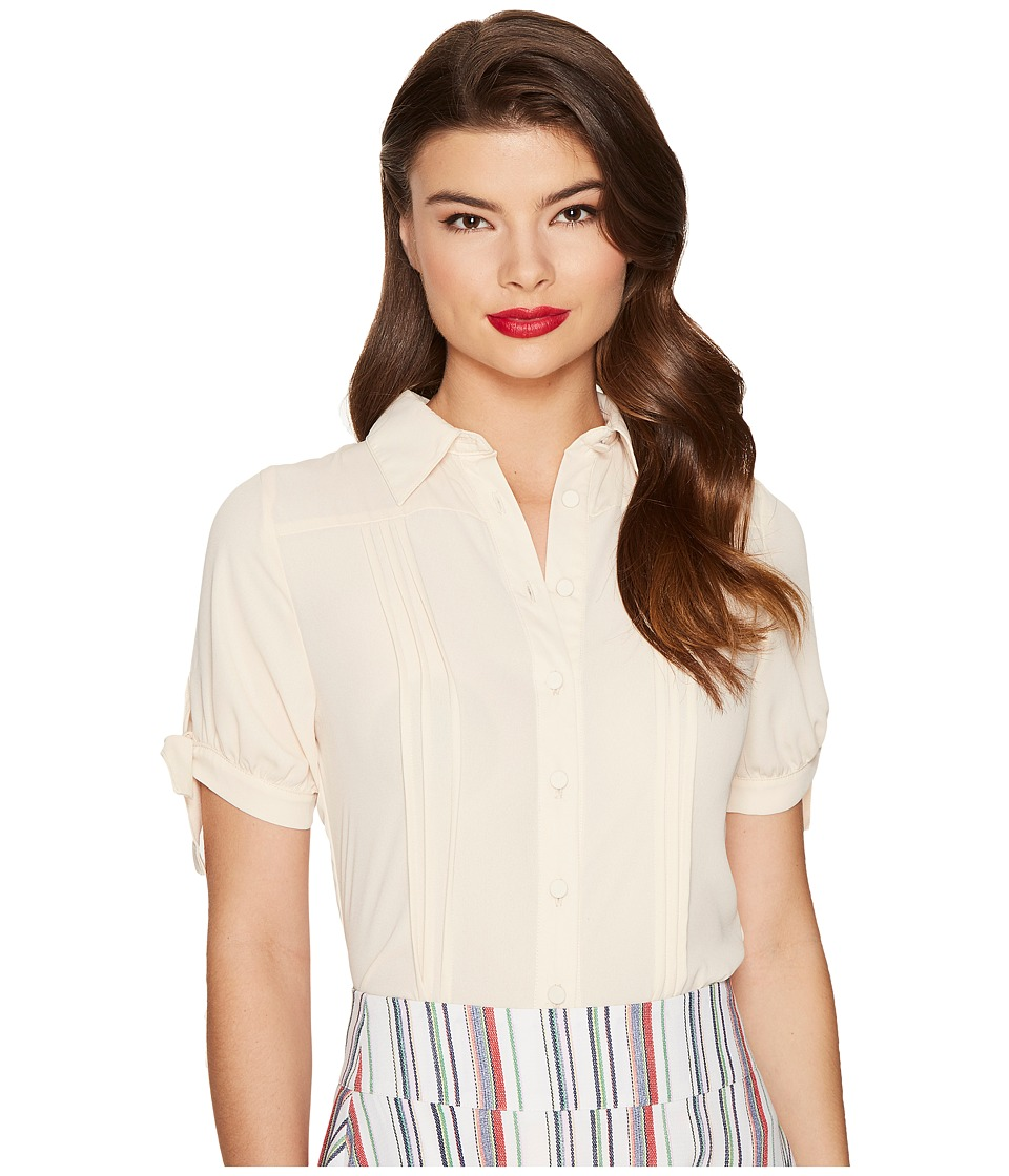Unique Vintage - Chiffon Button Up Short Sleeve Colvin Blouse (Cream) Women's Blouse