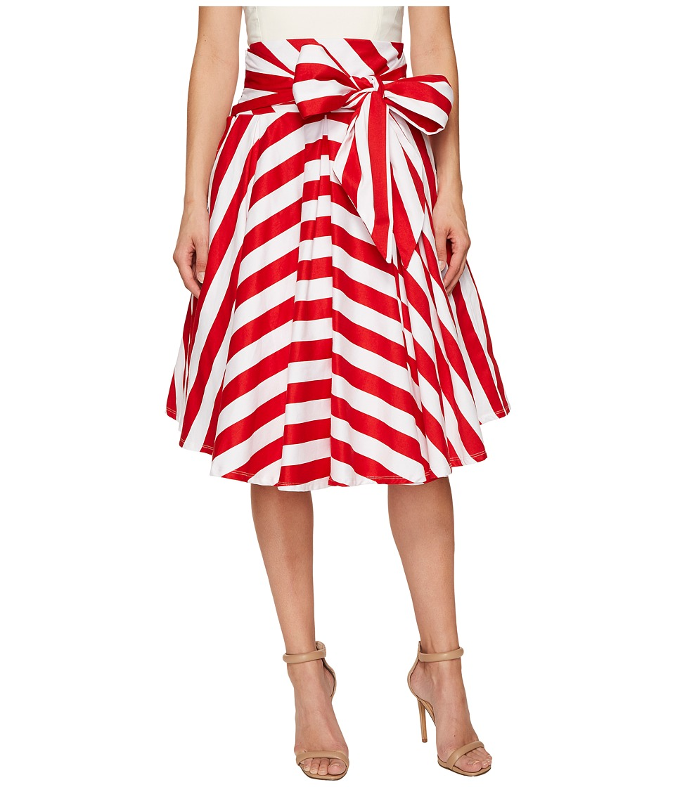 Unique Vintage - High Waisted Bow Skirt (Red Striped) Women's Skirt