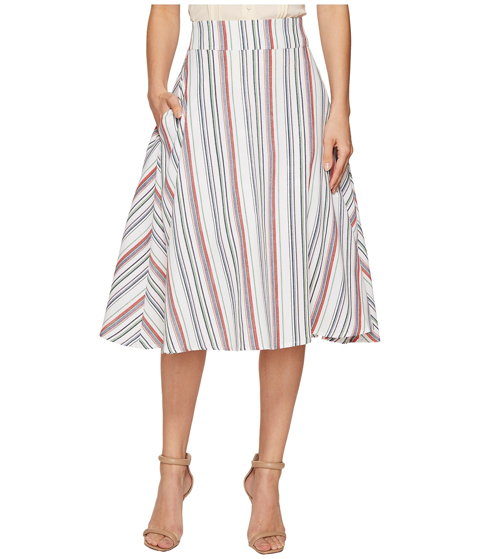 Unique Vintage High Waist Vivien Swing Skirt (Multi Striped) Women