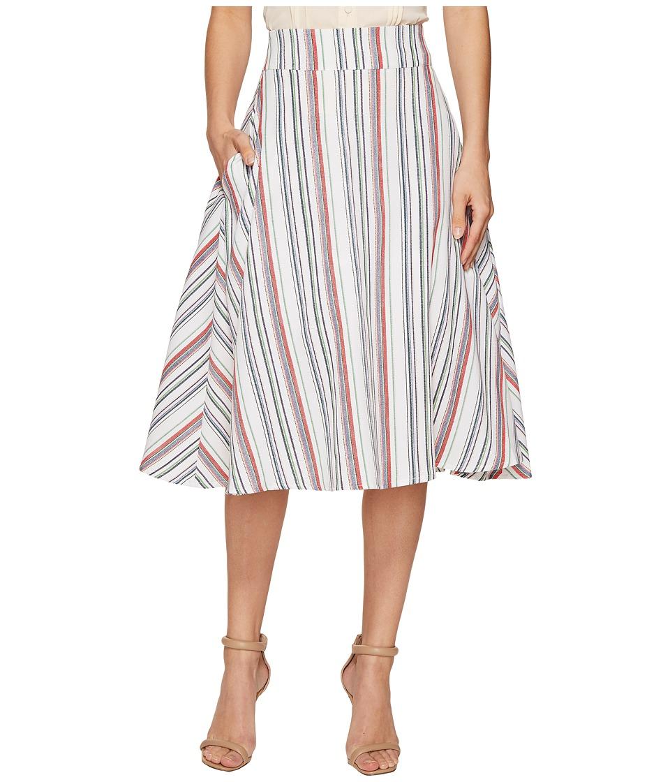 Unique Vintage - High Waist Vivien Swing Skirt (Multi Striped) Women's Skirt