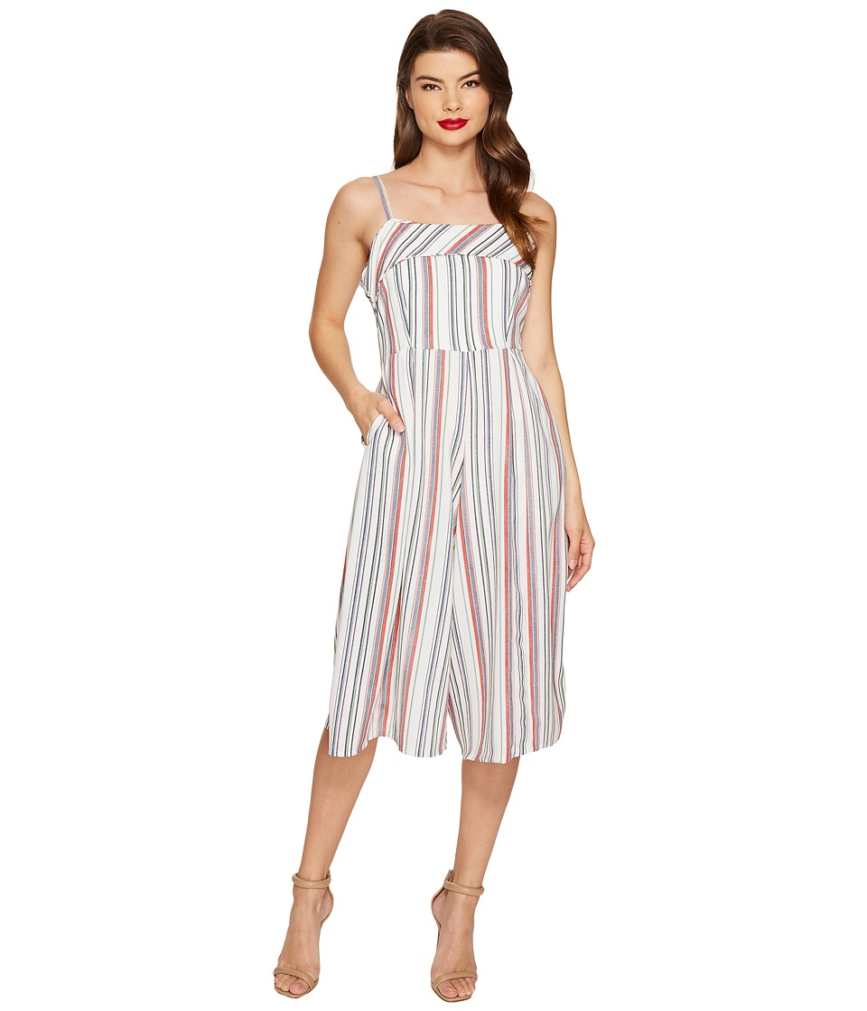 Unique Vintage - Wide Leg Nancy Romper (Beige Striped) Women's Jumpsuit & Rompers One Piece
