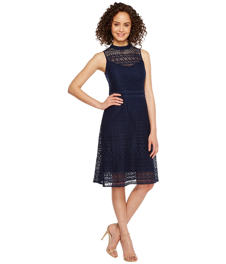 Jessica Simpson Geo Lace Mock Neck Dress JS7A9590 (Navy) Women