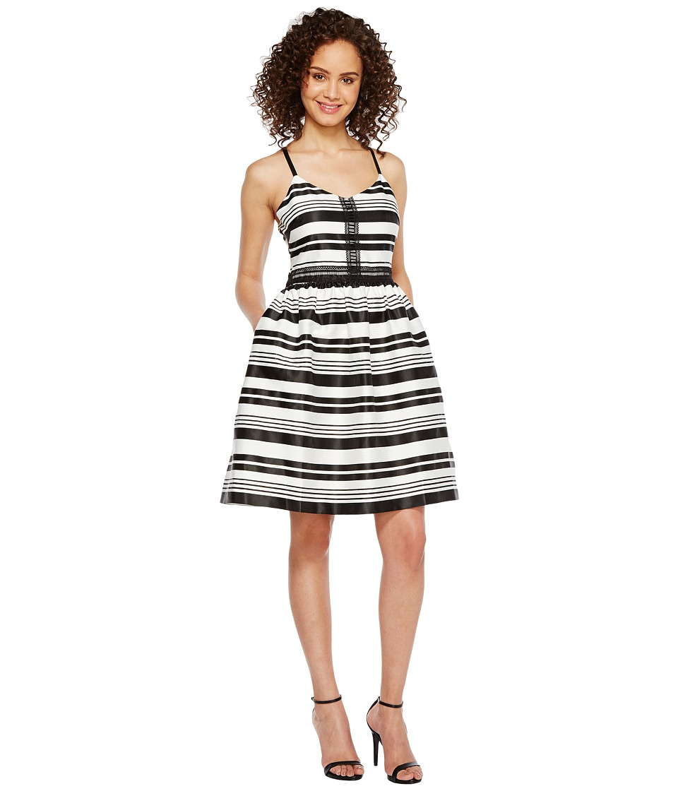 Jessica Simpson - Striped Party Dress JS7A9599 (Ivory/Black) Women's Dress