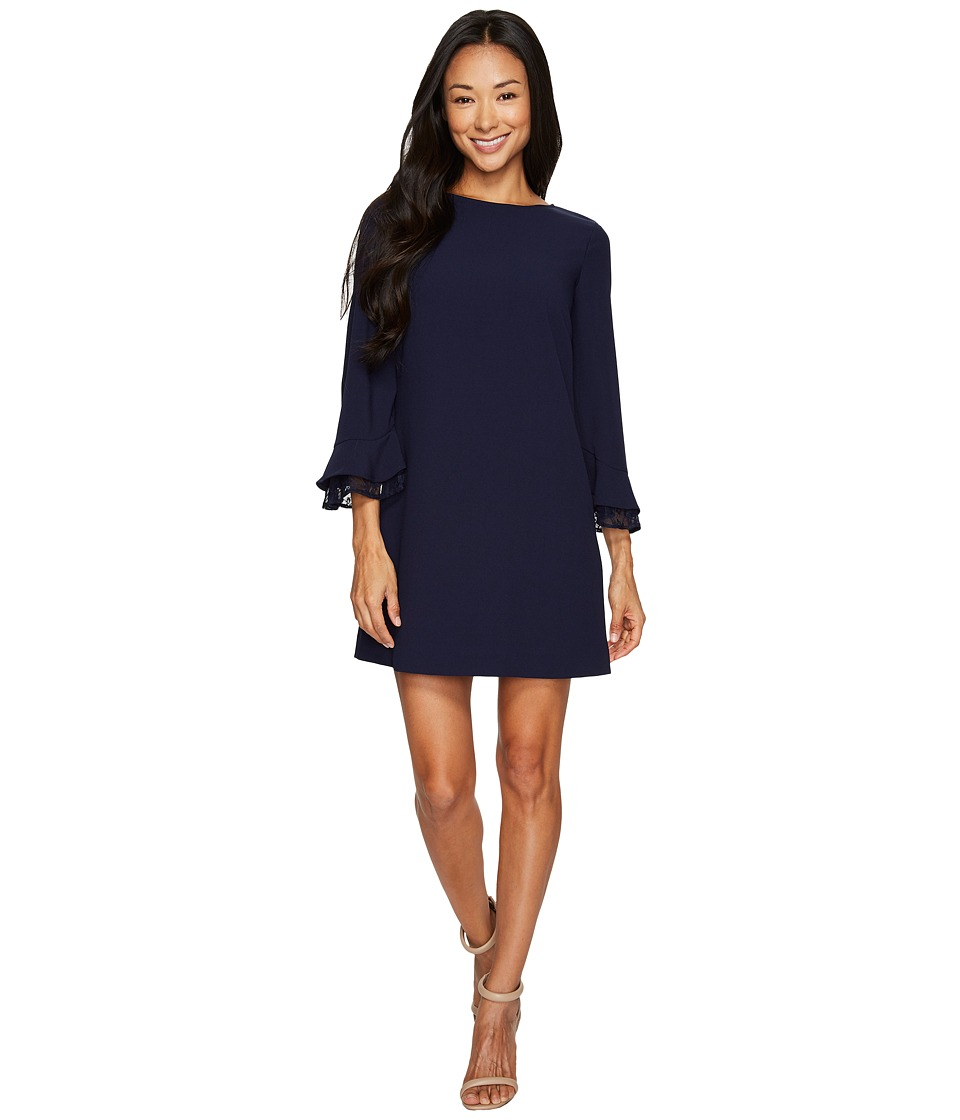 Tahari by ASL Petite - Petite Lace Yoke Shift Dress (Navy) Women's Dress