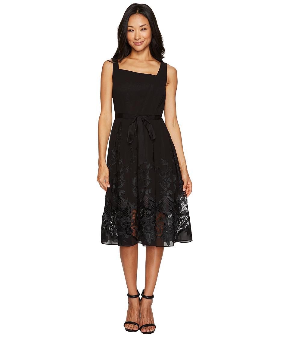 Tahari by ASL Petite Embroidered Hem Dress (Black) Women