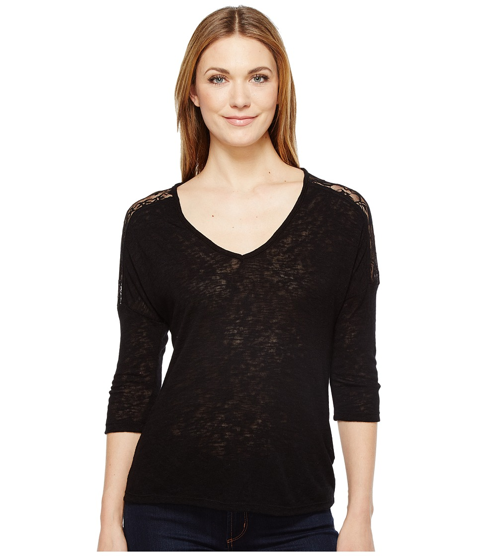 B Collection by Bobeau Lottie Lace Trim Top (Black) Women's Short Sleeve Pullover