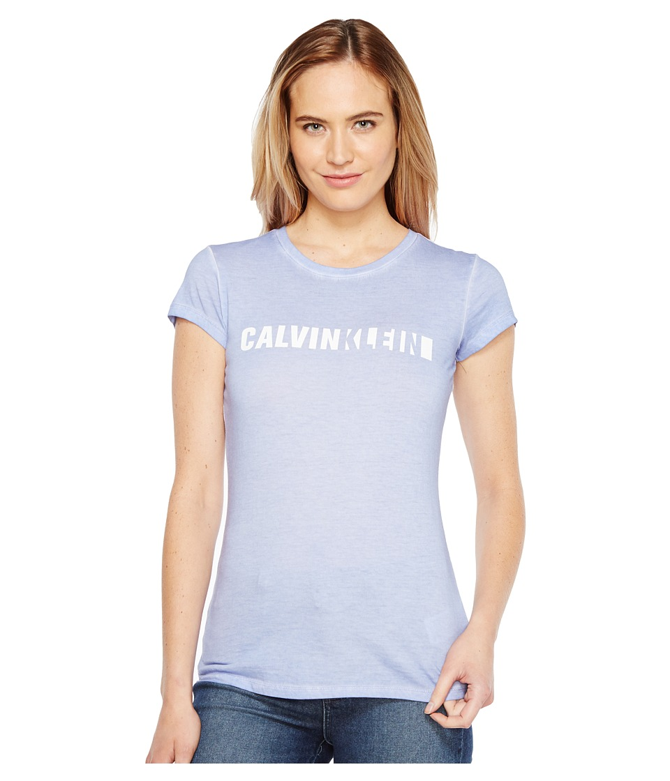 Calvin Klein Jeans - Cloud Wash Iconic Logo T-Shirt (Amethyst Cream) Women's Clothing