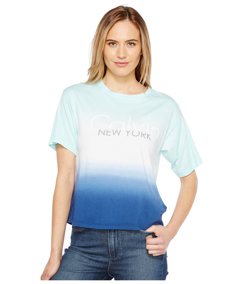 Calvin Klein Jeans - Dip-Dye Logo Boy Fit T-Shirt (Fresh Mint) Women's Clothing