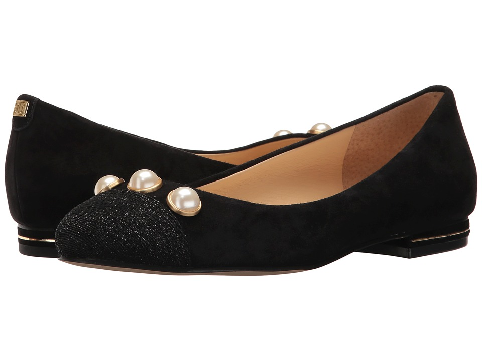 Ivanka Trump - Jaici (Black Savoy Suede/Sparkle Fabric Upper) Women's Flat Shoes