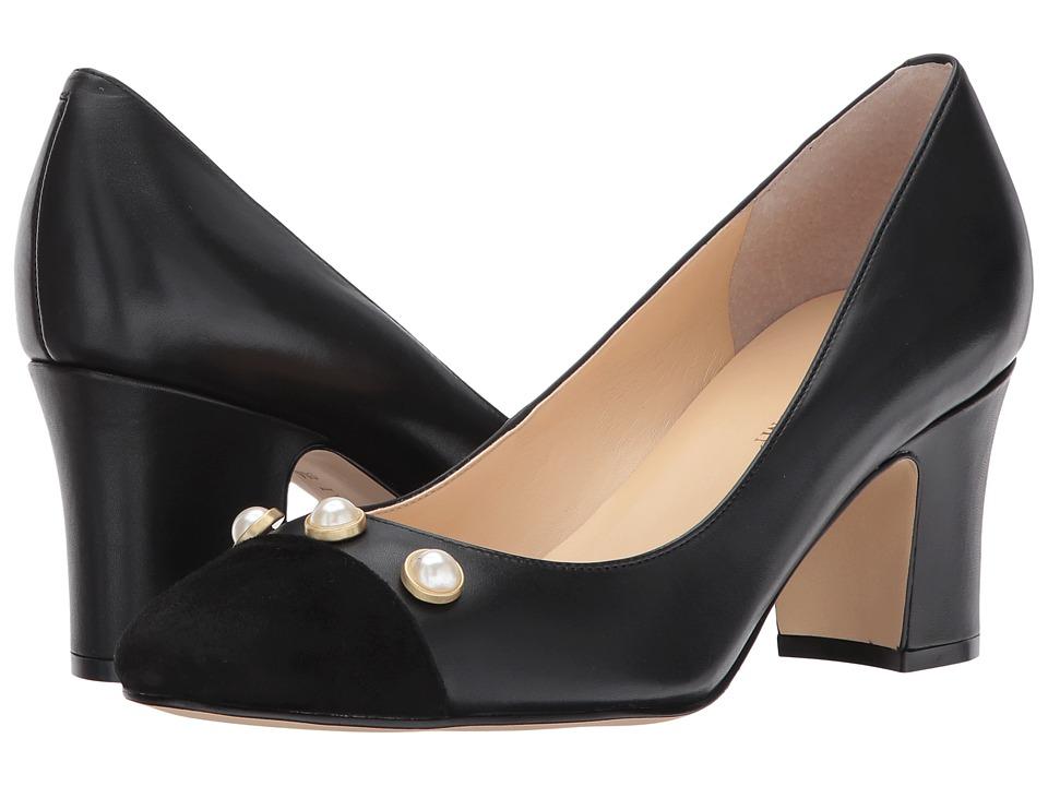Ivanka Trump Landri Black Leather-Dress Calf-Kid Suede High Heels