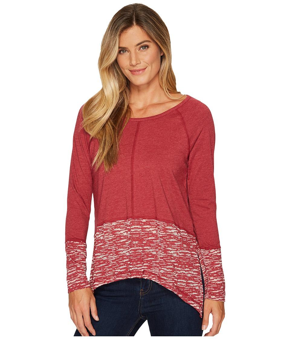 Cruel Long Sleeve Heathered Jersey Burnout (Red) Women