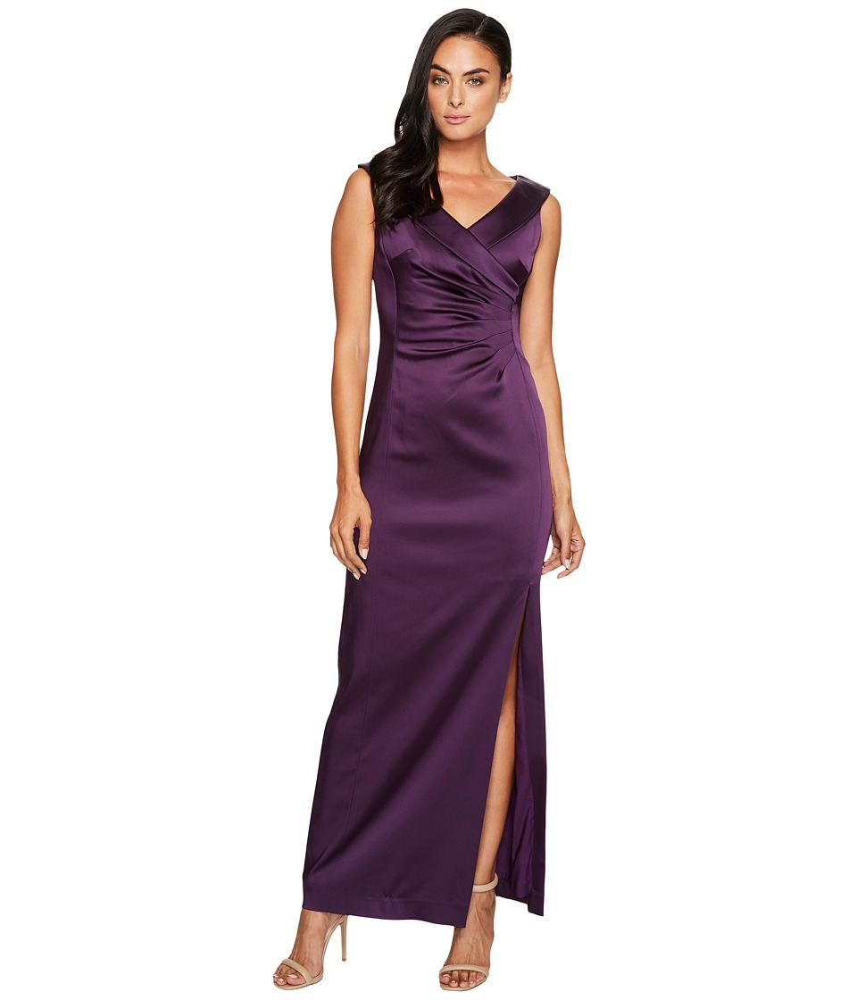 Tahari by ASL Stretch Satin Gown with Side Ruche Plum Dress