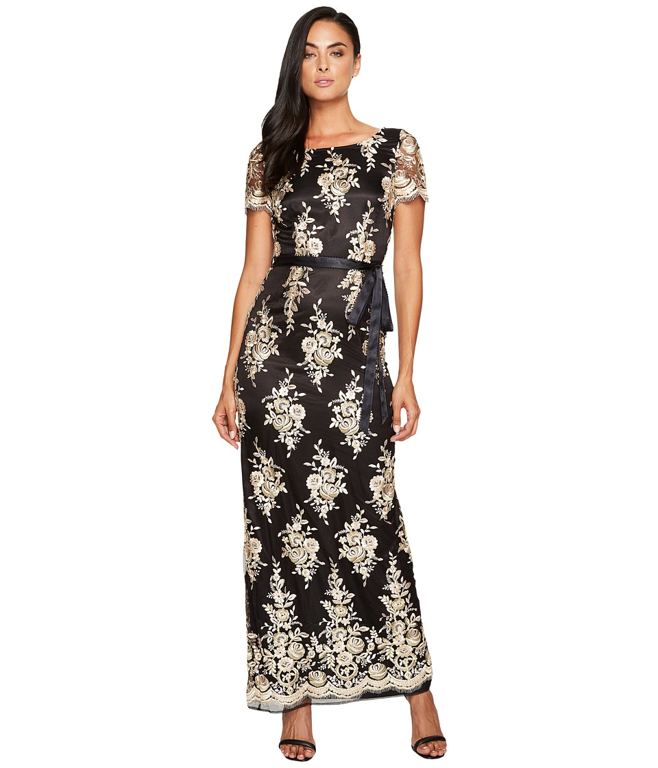 Tahari by ASL Embroidered Sheath Gown Black-Blush-Gold Dress